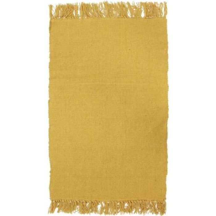 SIMPLY COTON - Tapis 100% coton jaune foncé 50x80