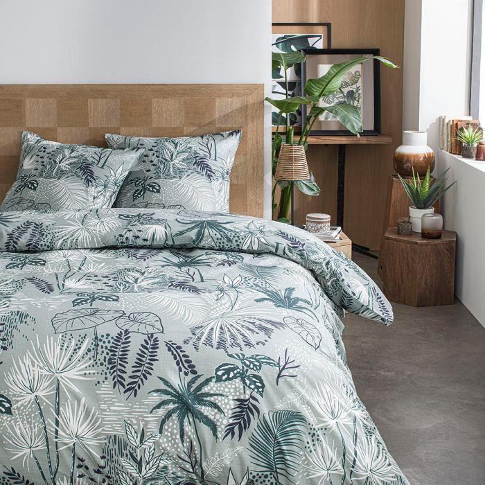 Parure de lit 2 personnes 220X240 Coton imprime vert Jungle SUNSHINE 5.18