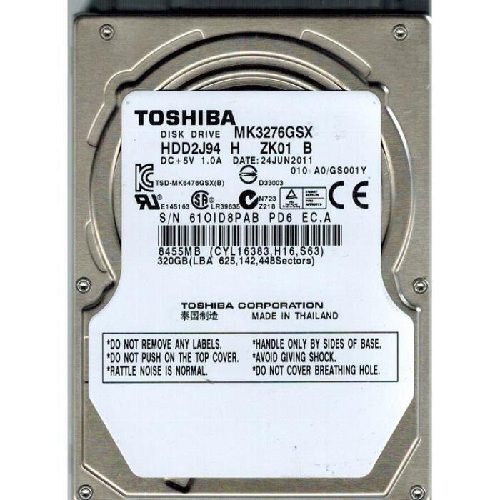 Disque dur Toshiba MK3276GSX 320Go 2.5