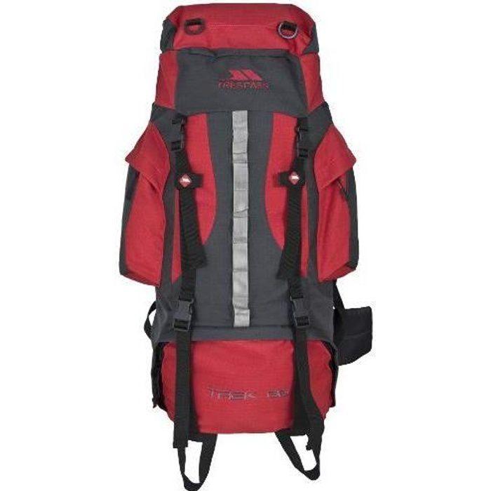 TRESPASS Sac à dos de randonnée 66 litres TREK 66 Rouge
