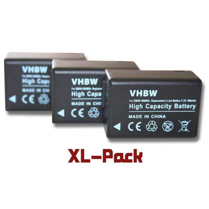 3 batteries de secours pour Panasonic Lumix DMC-FZ40, DMC-FZ45, DMC-FZ47, DMC-FZ48, DMC-FZ100, DMC-FZ150, DMC-FZ72 - Remplace : P…