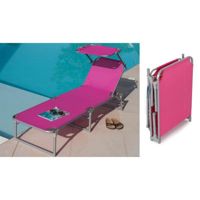 bain de soleil aluminium rose fuchsia pare soleil achat vente chaise longue bain de soleil. Black Bedroom Furniture Sets. Home Design Ideas