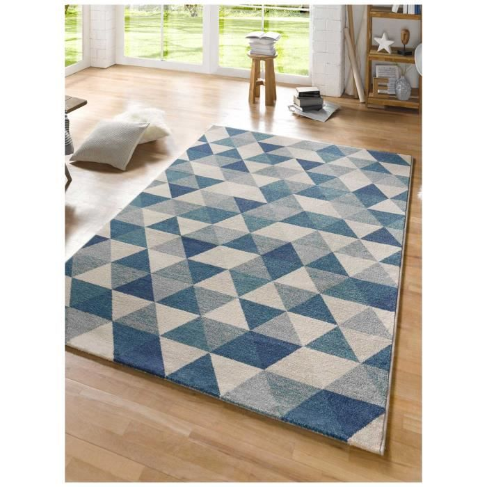 tapis salon scandesign bleu 135x195 par tapis moderne achat vente tapis cdiscount. Black Bedroom Furniture Sets. Home Design Ideas