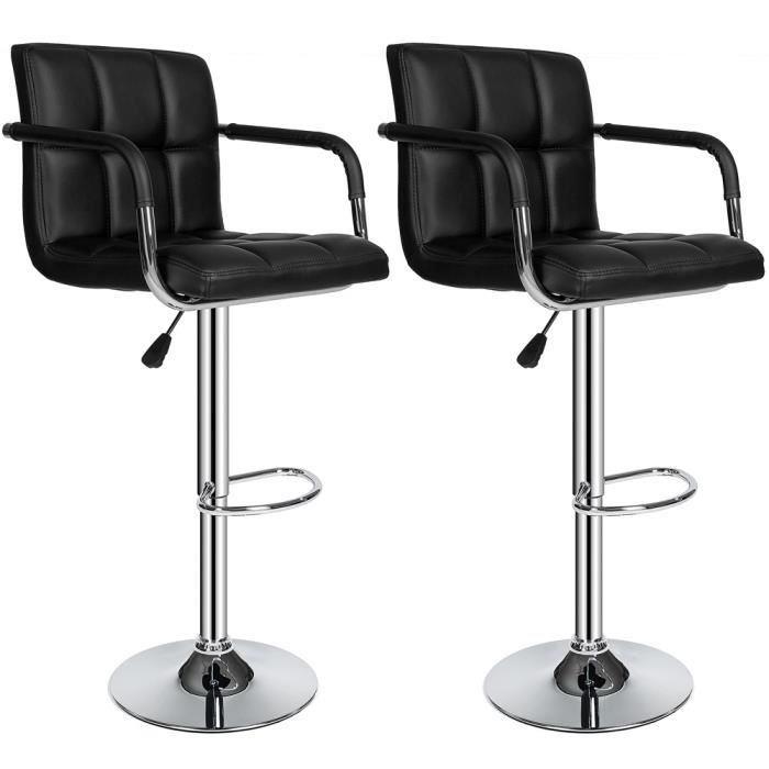2 Tabourets De Bar Haut Chaise PU Chrome Hauteur Rglable Grande Base
