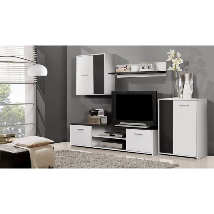 ensemble meuble tv mural noir blanc 220 00 cm achat vente meuble tv ensemble meuble tv. Black Bedroom Furniture Sets. Home Design Ideas
