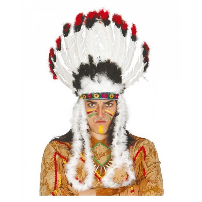 Genre Chausses de cuir Perruque Indien Déguisement Longue Noire Cheveux-Sans bandeau