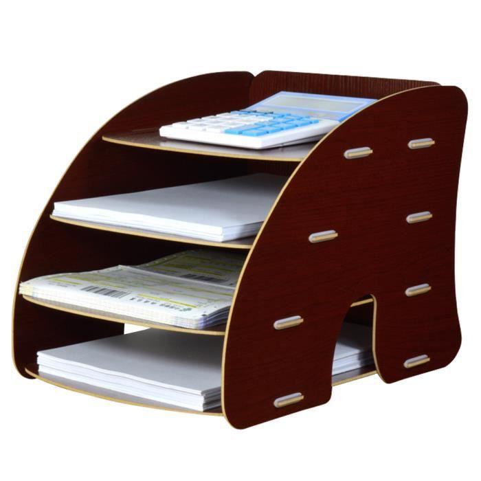 Trieur Vertical Rangement Étagère Dossier Papier Magazine Organiseur 4 compartiments pour Bureau ...