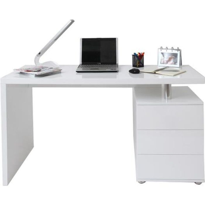 bureau design blanc laqu 3 tiroirs calix achat vente bureau bureau blanc laqu 3 tiroirs. Black Bedroom Furniture Sets. Home Design Ideas