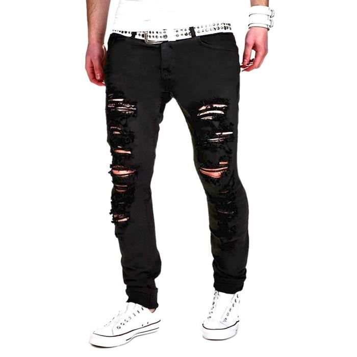 minetom homme skinny trou biker jeans straight fit d chir styles destroyed denim slim fit serr. Black Bedroom Furniture Sets. Home Design Ideas