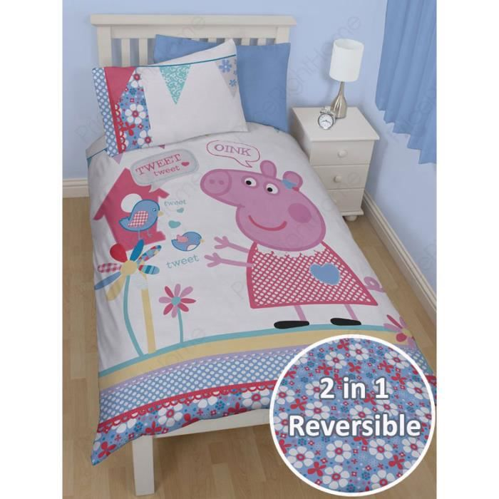 peppa pig parure de lit 1 personne achat vente housse de couette cdiscount. Black Bedroom Furniture Sets. Home Design Ideas