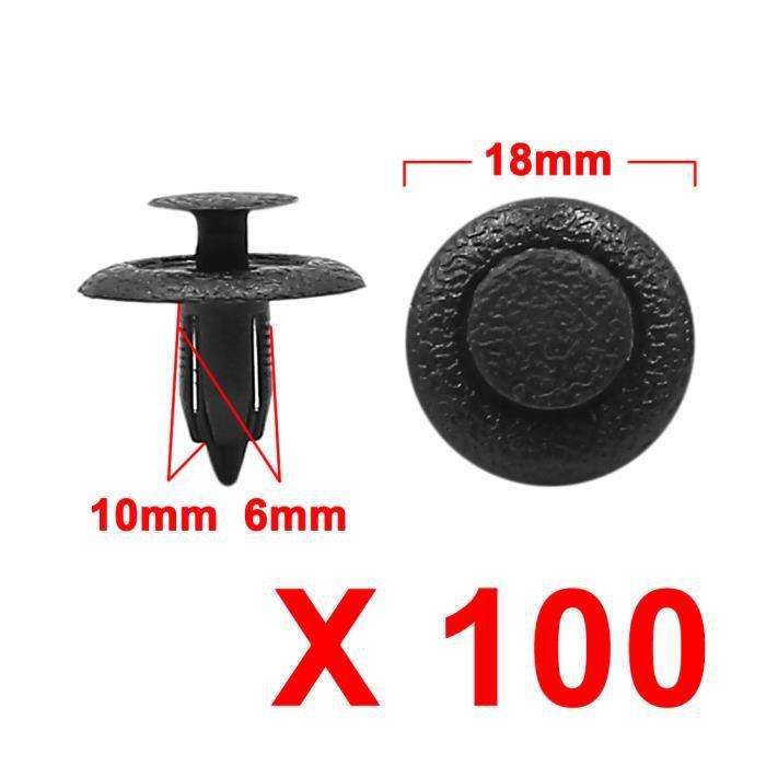 Sourcingmap/® 50 Pi/èces en Plastique Noir Attache-Projection Clips Rivet 8mm x 10mm x 20mm