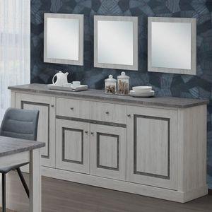 BUFFET - BAHUT  Buffet 220 cm couleur chêne clair et gris EMMETT L
