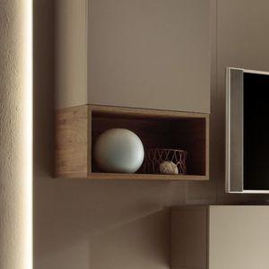 MEUBLE ÉTAGÈRE Petit meuble suspendu couleur chêne miel KUBIK L 5
