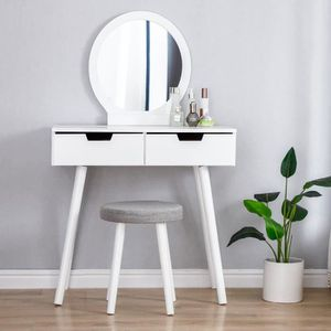 COIFFEUSE Coiffeuse avec miroir, 2 tiroirs, 1 tabouret - tab
