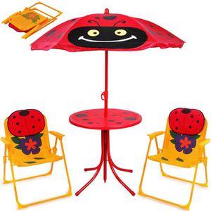 MAISONNETTE EXTÉRIEURE Ensemble 2 Chaises et 1 Table enfant avec parasol
