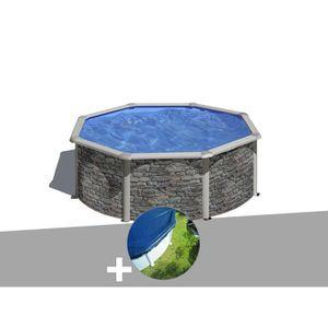 PISCINE Kit piscine acier aspect pierre Gré Cerdeña ronde