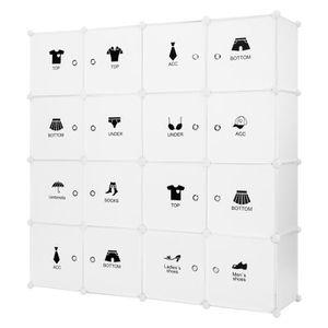 ARMOIRE DE CHAMBRE Armoire Penderie Motif 16 Cubes Storage Modulable