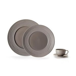 SERVICE COMPLET Assiette plateEscale nature TERRE, Forme Onde Meda