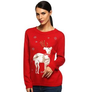 PULL pull Noël femme automne - hiver col O animal impri