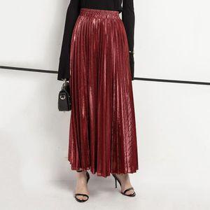 JUPE La mode des femmes taille haute plissée couleur un