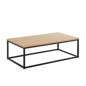 TABLE BASSE Table basse coloris chene clair et noir en panneau