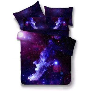 sourcingmap 3D imprim/é Galaxy Sky Cosmos Nuit Motif Set Housse De Couette Housse confortable Taie doreiller set Simple//Double Taille Violet Fonc/é Single Size