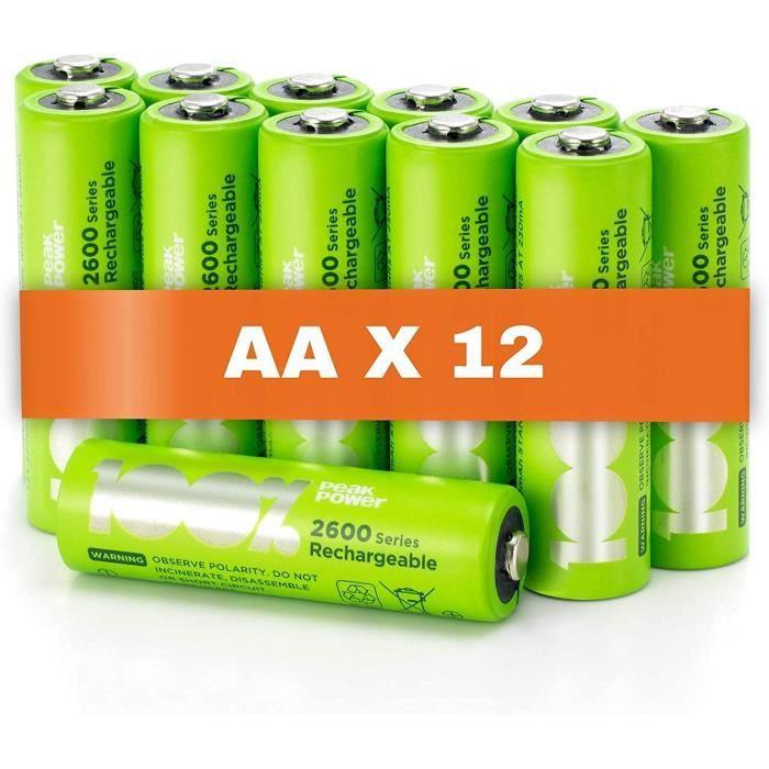 Piles Rechargeable AA x 12 - Série 2600 - 100% PeakPower - Préchargé Haute Capacité Batterie NiMH 1.2V LR06