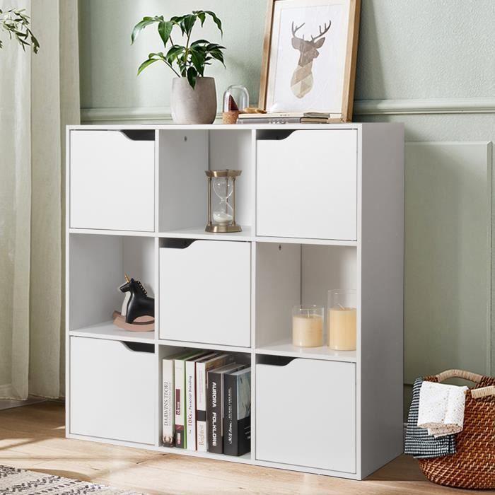 COSTWAY Bibliothèque de Rangement avec Portes 90x29x90 CM Meuble en Bois 3 Etagères Blanche de Style Scandinave et Moderne