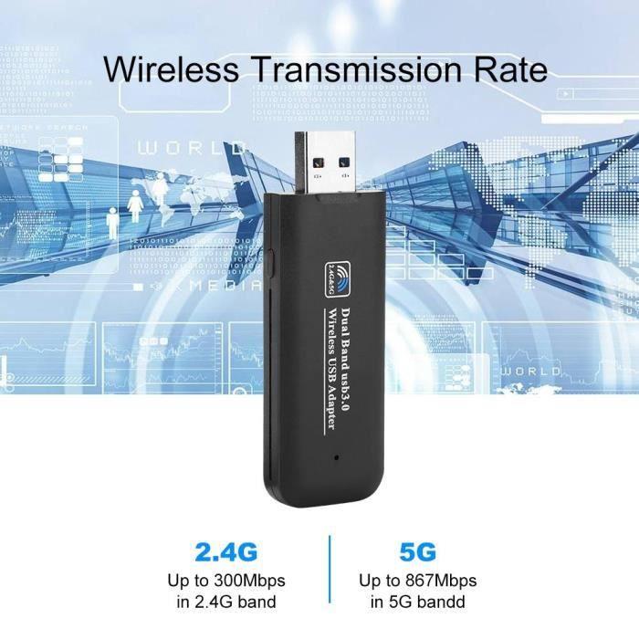 Carte réseau sans fil Adaptateur réseau Usb3.0 1200M 2.4G 5G double adaptateur Wifi pour Windows Linux Mac