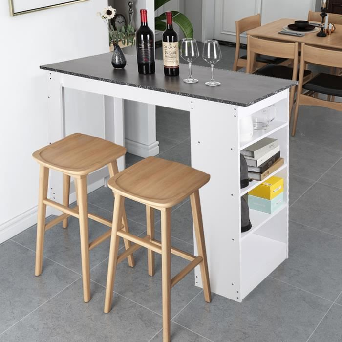 HEk Table Bar Avec Rangements Panneaux de Particules Melamines 115*50*103CM - Blanc/Béton Noir