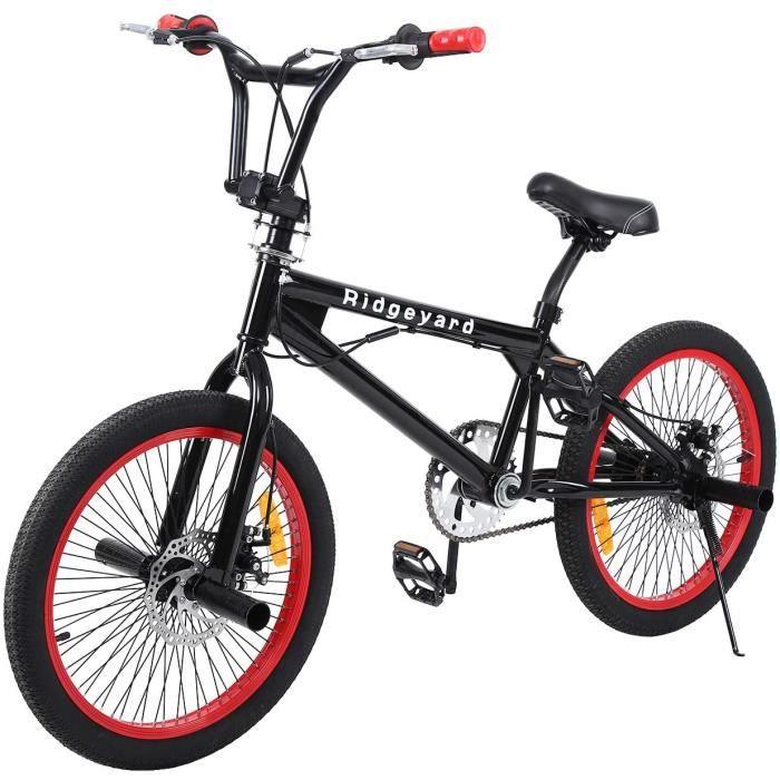 Ridgeyard Vélo BMX Freestyle 20- Rotor System 360°4 Chevilles BMX Bike (Noir + Rouge)