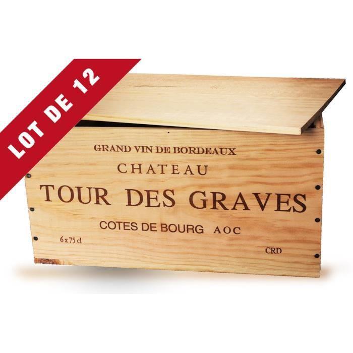 Lot de 12 - La Caisse Bois 6x75cl estampillé Château Tour des Graves - Coffret Vin
