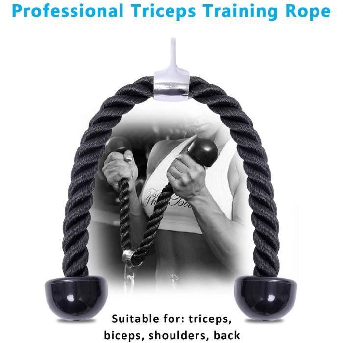 Triceps Corde, Elastique de résistance Tricep Pull Down Lat Pulldown Barre de curl Biceps pour fitness, bodybuilding Gym