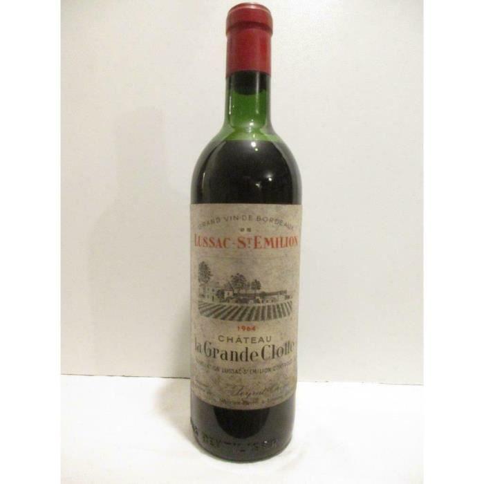 lussac saint-émilion château la grande clotte (capsule abîmée) rouge 1964 - bordeaux