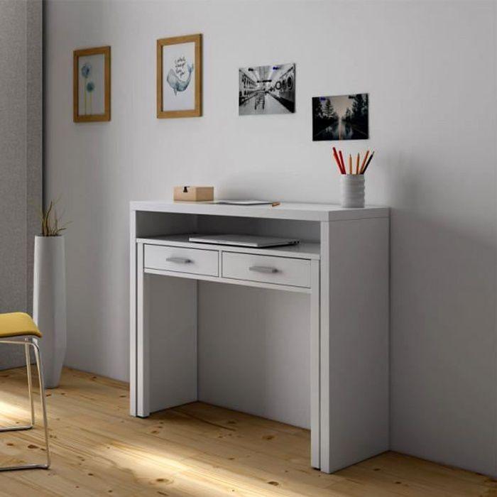 Console bureau extensible Blanc - NIAL - Blanc - Bois - - Console