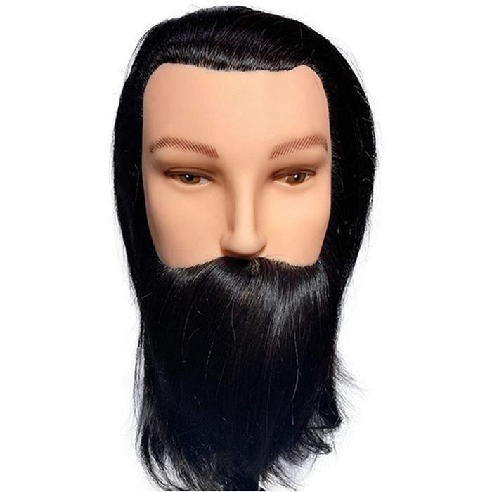 WANGXNCase T&ecircTe &agrave Coiffer Professionnelle Homme, Vrais Cheveux Humains avec Barbe cosm&eacutetologie Formation Coi1215