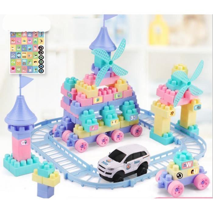 Enfants de 3-6 ans assemblant des blocs de construction wagons jouets éducatifs