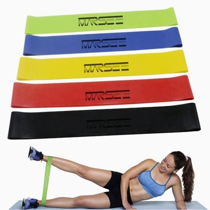 Bande de Resistance Set (5) - Loop Bande Elastique Fitness Équipement d'Exercices pour Musculation Pilates Squat Sport Da12124