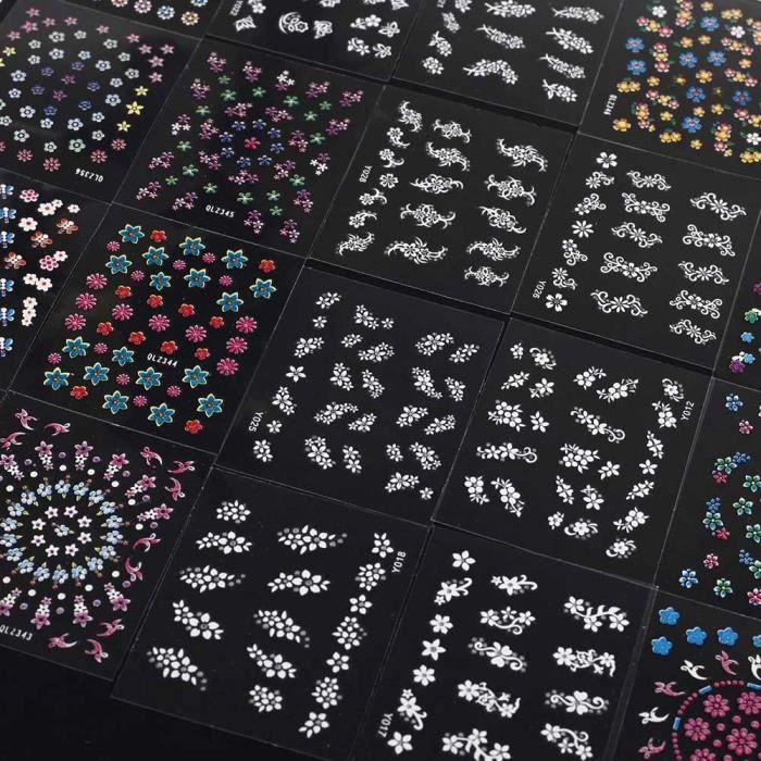 50 pcs 3D Autocollants Ongle Nail Art Stickers Design Floral Couleurs Mélangées Décalcomanies Manucure Belle Mode Accessoires Décor