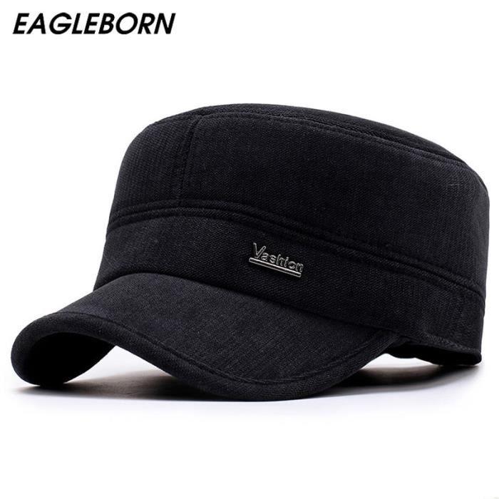 EAGLEBORN chapeaux pour hommes, casquette militaire avec rabats d'oreille, casquette de marin mil Bleu Adjustable