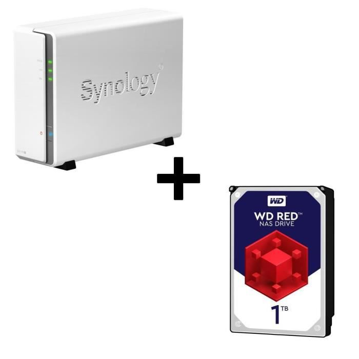 Pack Synology Serveur NAS DiskStation DS115j + 1 Disque Dur WD Red 1To 64Mo 3.5 WD10EFRX