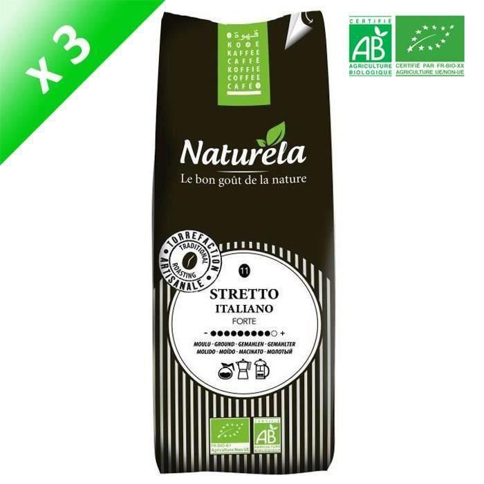 [LOT DE 3] Naturela -250g- Café Sretto Italiano Moulu n° 11 Bio
