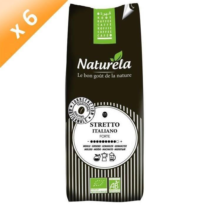 [LOT DE 6] Naturela -250g- Café Sretto Italiano Moulu n° 11 Bio