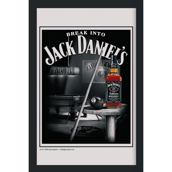 Mirroir XL Jack Daniel's Snooker Mirroir imprimé, cadre en plastique noir, effet bois.