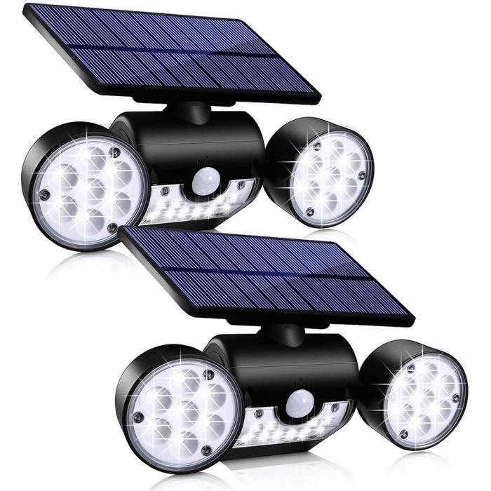 Solaire lumières extérieur détecteur de mouvement Lampe LED étanche IP65 mural à double tête pour Jardin Sécurité 2PCS