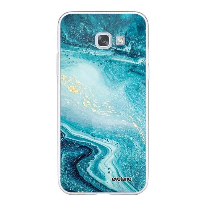 Coque Samsung Galaxy A5 2017 360 intégrale transparente Bleu Nacré Marbre Ecriture Tendance Design Evetane