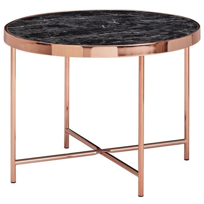 FineBuy Table d'appoint ronde 60cm Table basse aspect marbre Table de salon noire