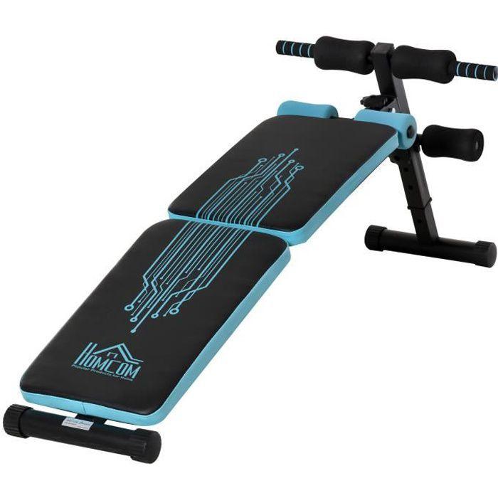 Banc de musculation pliable banc abdominaux hauteur réglable 4 positions dim. 144L x 53l x 45-60H cm bleu noir 144x53x60cm Bleu