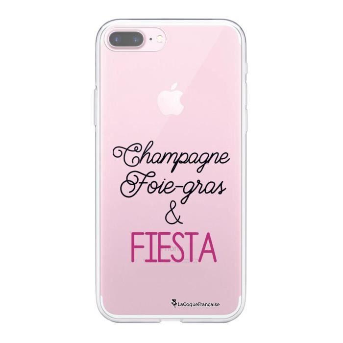 Coque iPhone 7 Plus / 8 Plus 360 intégrale transparente Champagne Foie gras et Fiesta Ecriture Tendance Design La Coque Francaise