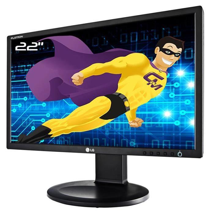 Ecran PC 22- LG Flatron E2211PU-BN E2211PUX LCD TFT TN VGA DVI-D USB 16:9 VESA
